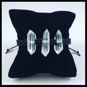 Genuine 3 double point crystal quartz adjustable